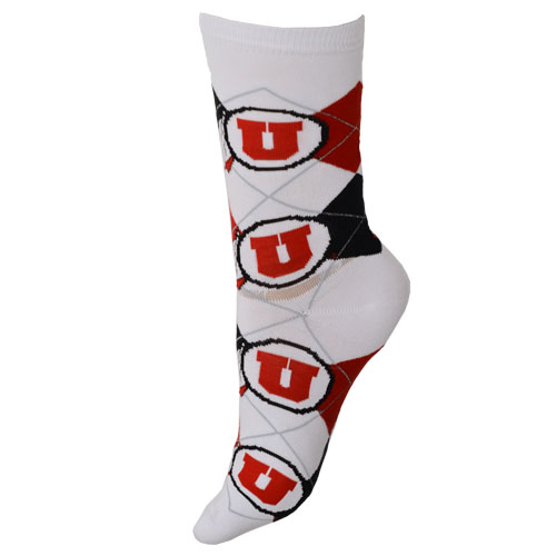 Utah Utes Athletic Logo Argyle Socks