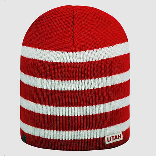 Utah Red and White Striped Beanie