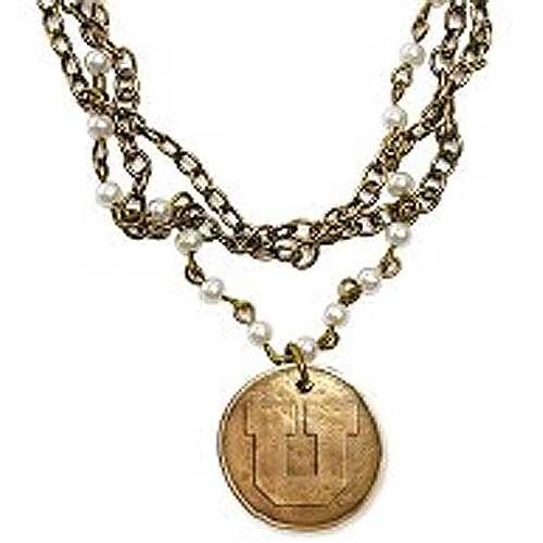Utah Utes Block U Bronze Necklace