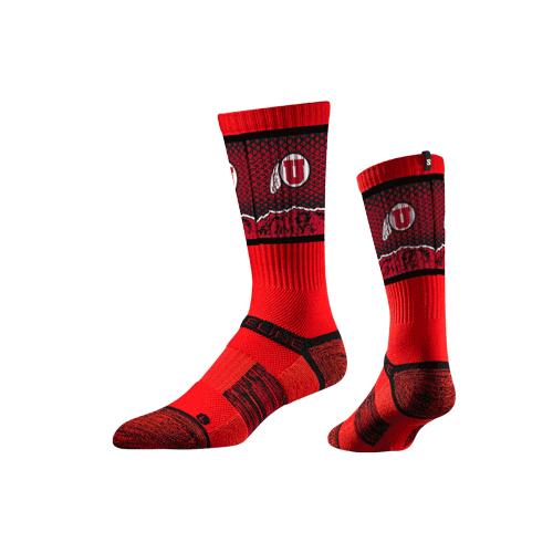 Utes Athletic Logo Strideline Socks with Mountains