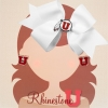 Rhinestone U Athletic Logo White Bow and Block U Earrings
