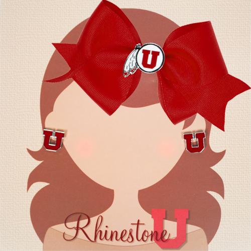 Rhinestone U Athletic Logo Red Bow and Block U Earrings