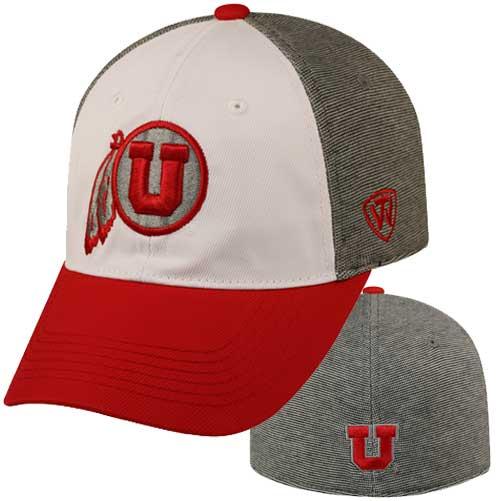 Utah Utes Red and Gray Athletic Logo Hat