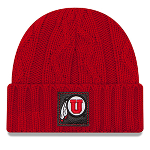 Athletic Logo Cable Knit Beanie