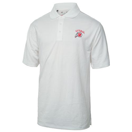 Under Armour Utah Athletic Logo White Polo Shirt