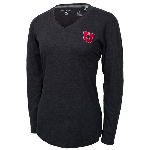Antigua Block U V-Neck Womens Long Sleeve T-Shirt