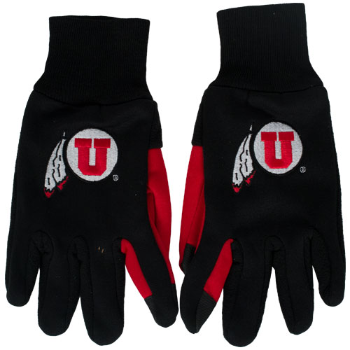 Black and Red Athletic Logo Texting Gloves