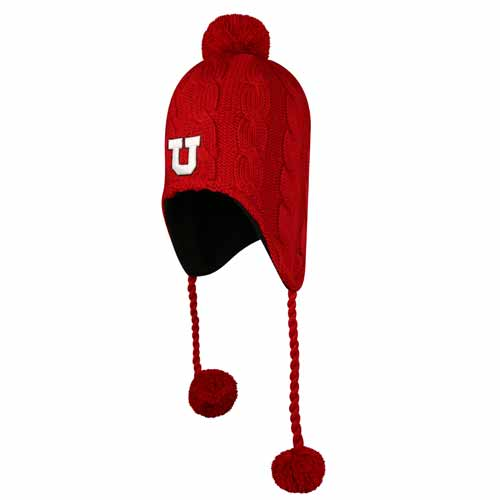 Top of the World Red Block U Beanie With Straps