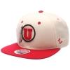Zephyr Ivory and Red Athletic Logo Utah Snap Back thumbnail