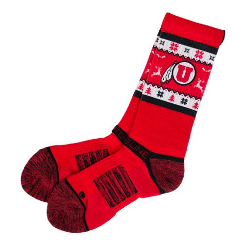 Utah Athletic Logo Holiday Red Socks