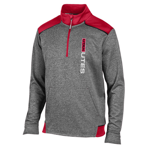 Champion Red and Gray Quarter Zip Hoodie