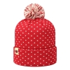 Red Polka Dot Pom Pom Beanie With Interlocking U