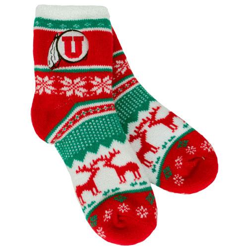 Festive Athletic Logo Fuzzy Socks