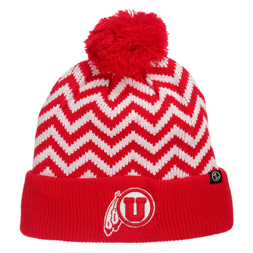 Zephyr Athletic Logo Red White Zigzag Knitted Beanie