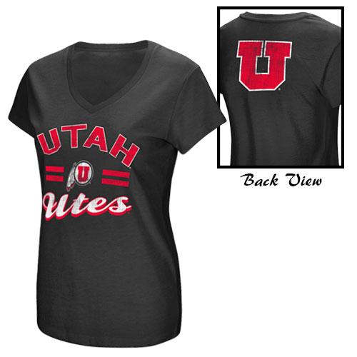 Colosseum Utah Utes Athletic Logo Womens Black V-Neck TShirt