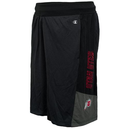 Champion Gray Panel Utah Utes Athletic Logo Shorts