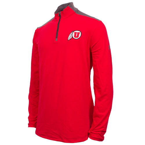 Under Armour Athletic Logo Quarter Zip Red Long Sleeve