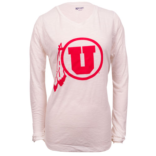 Gear Red Athletic logo white long sleeve