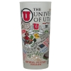 University of Utah Collage Frosted Drinking Glass