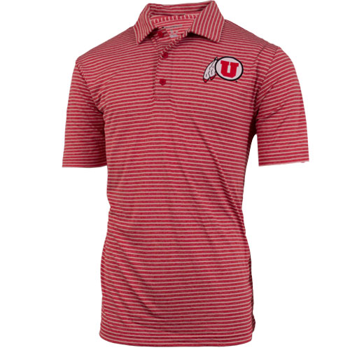 Men's Athletic Logo Stiped Polo Shirt