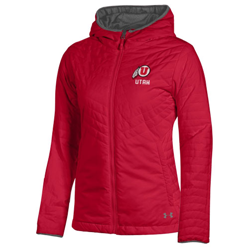 Under Armour Women's Athletic Logo Utah Hooded Puffer Jacket