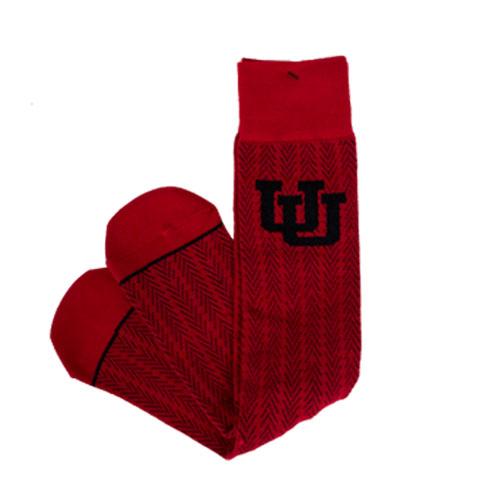 47 Brand Red and Black Interlocking U Dress Sock