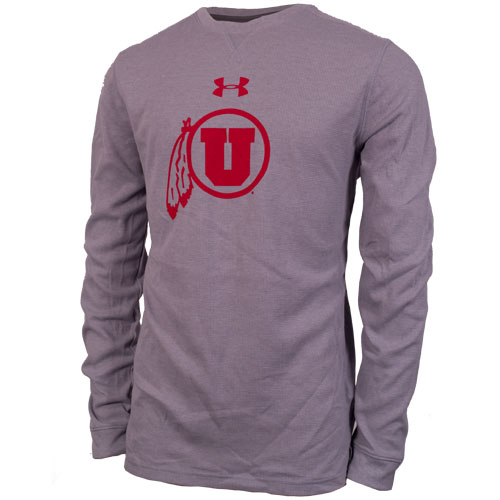 Under Armour Red Athletic logo Waffle Grey Men Long Sleeve