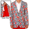 2-Button Single-Breasted Athletic Logo Print Blazer