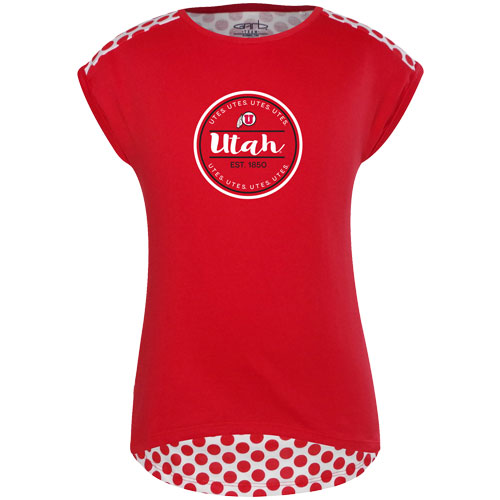 Girls Utah Utes Athletic Logo Polka Dot Back T-shirt