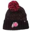 Zephyr Pink and Black Athletic Logo Pom Beanie