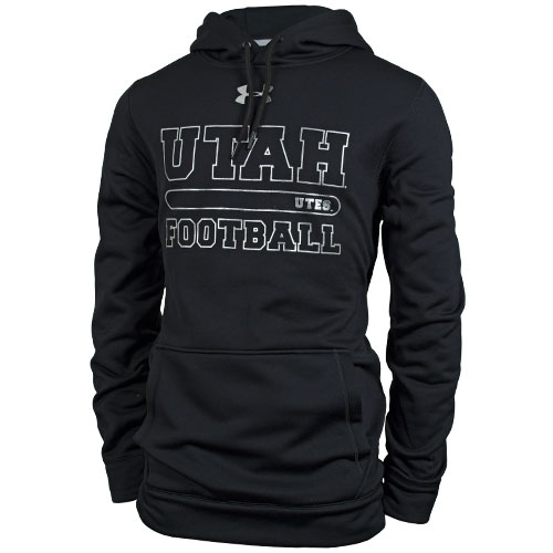 Under Armour Utes Football Silver Font Hooded Sweatshirt