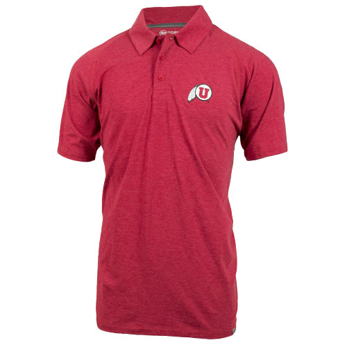 47 Brand Athletic Logo Heathered Red Polo