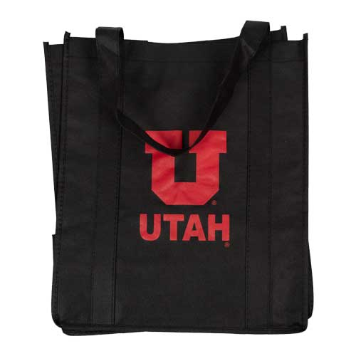 Image For Utah Utes Black Block U Reusable Shopping Tote