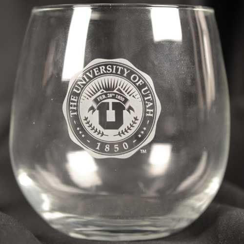 Image For University of Utah Medallion Stemless Wine Glass