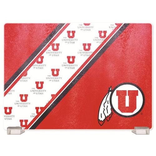 Image For University of Utah Athletic Logo Glass Cutting Board
