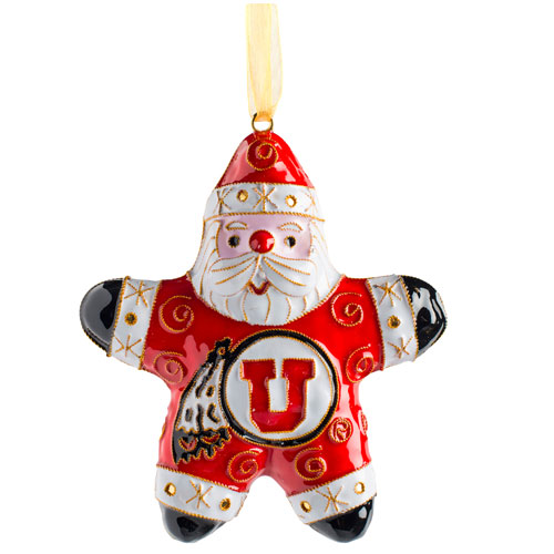 Image For Utah Utes Athletic Logo Santa Blown Glass Ornament