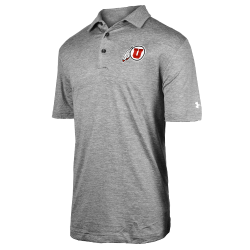 Cover Image For Under Armour Athletic Logo Heather Gray Polo Shirt