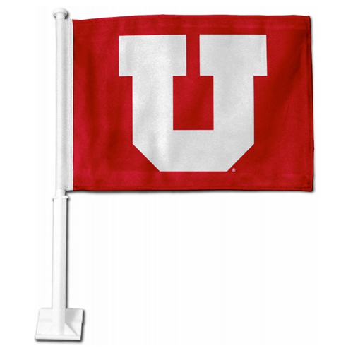 Image For University of Utah Block U Car Flag