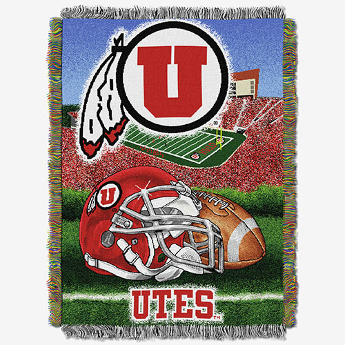 Image For Utah Utes Athletic Logo Tapestry Woven Blanket