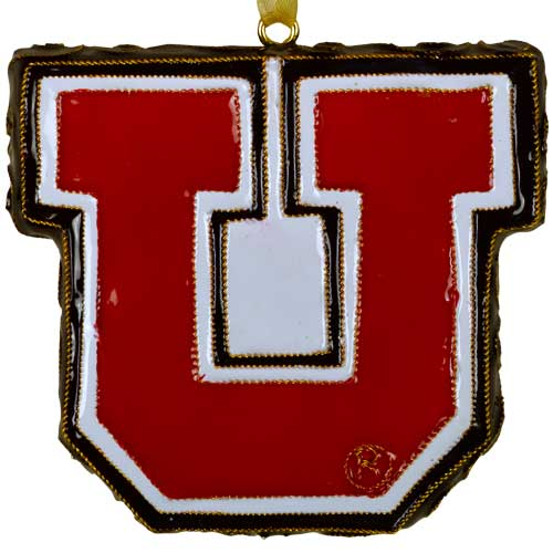 Image For Utah Utes Genuine Cloisonne Gold Plated Block U Ornament
