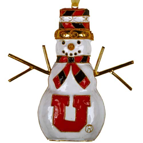 Image For Utah Genuine Cloisonne Gold Plated Snowman Block U Ornament