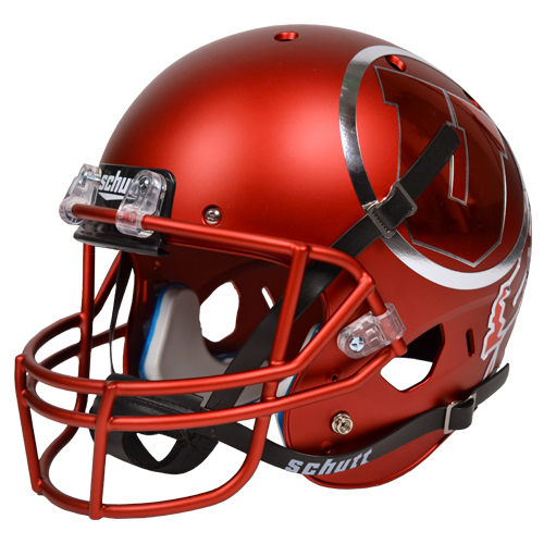 Image For University of Utah Schutt Satin Chrome Helmet