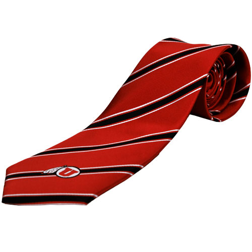 Image For University of Utah Athletic Logo Striped Tie