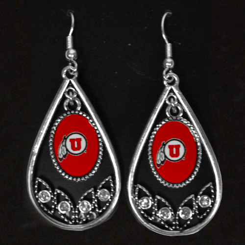 Image For Utah Utes Athletic Logo Teadrop Earrings