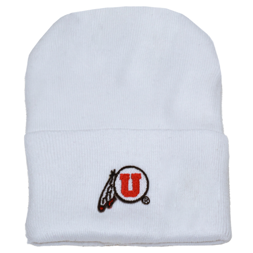 Image For Newborn Utah Athletic Logo White Beanie