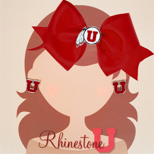 Cover Image For Rhinestone U Athletic Logo Red Bow and Block U Earrings