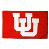Image for Utah Utes Interlocking U Red Silk Screened Flag