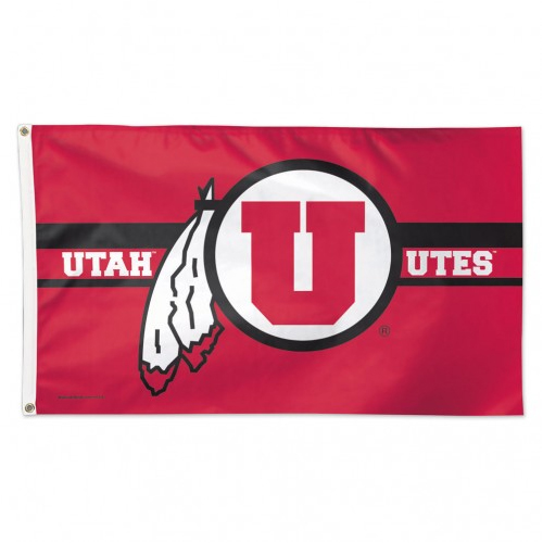 Cover Image For Utah Utes Athletic Logo Deluxe Flag