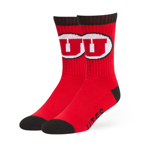 Image For 47 Brand Utes Athletic Logo Red Socks