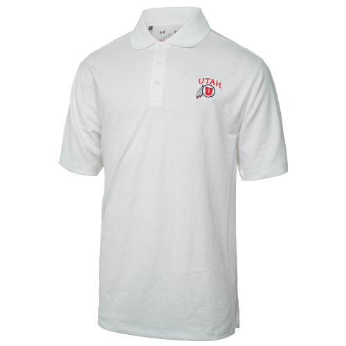 Cover Image For Under Armour Utah Athletic Logo White Polo Shirt